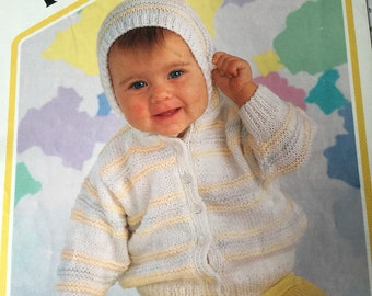 Peter Pan knitting pattern babies jacket with hood