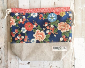 coral and navy floral | drawstring project bag | single sack