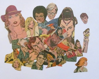 Retro comic book people die cut embellishments: pack of 45 colourful clippings. Craft supply for scrapbook, decoupage, card making PE368
