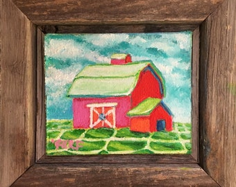 Barn Happy Super Little, Small Framed Oil on Canvas