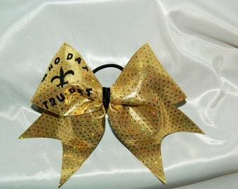 New Orleans Saints Football Who Dat Tru Dat Cheer Bow Hair Bow