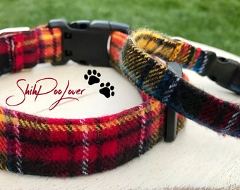 Comfy Warm Flannel Plaid Adjustable Dog or Cat Collar (Matching Leash Available)