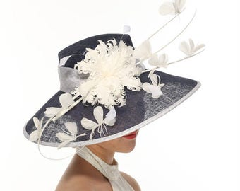 Church Kentucky Derby Carriage Tea Party Wedding Wide Brim Woman's Royal Ascot Hat in Solid Sinamay Hat Navy Blue with White