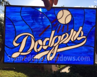 Go Dodgers !!  Custom Stained Glass Window Panel   (We do custom work, email for a quick quote)