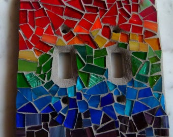 Handcrafted Rainbow Stained Glass Mosaic Light Switchplate - Double