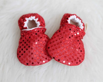 Baby Girl Shoes, Red Baby Shoes, Red Baby Booties, Sequin Baby Shoes, baby girl Moccasins, Baby Booties, Red Booties, baby Shoes