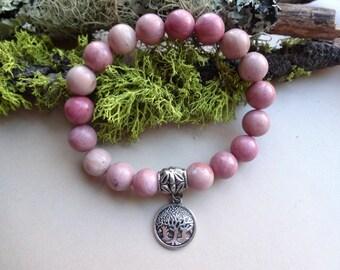Rhodochrosite Tree of Life powerful stretch bracelet - pink gemstone healing jewelry