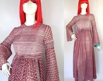 Vintage 1970s  Indian Cotton Gauze Maxi Dress / Kumari  / Hippie // Festival / 60s Groupie // Pamela des Barres