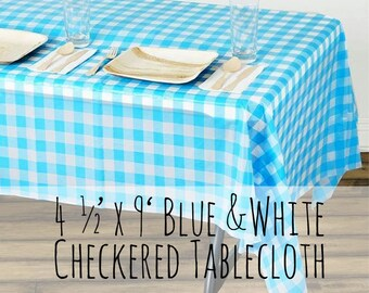Large Plastic Light Blue And White Checkered Tablecloth, Sky Blue Plaid  Gingham Tablecloth, Picnic
