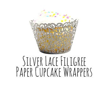 10 Pack Iridescent Silver Lace Cutout Cupcake Wrappers, Leaf Filigree Cupcake Wrapper, Cupcake Liner, Laser Cut Cupcake Wrapper, DIY Wedding
