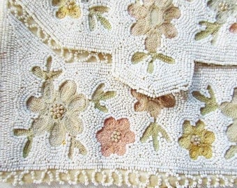 Beaded Belgian Bag, Envelope Bag, Vintage Beaded Bag, Beaded Clutch, Handmade Purse, Walborg, Hand Embroidery, Cream Colored, Beaded Purse