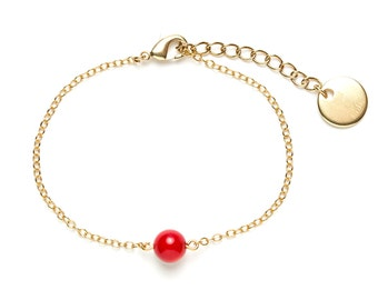 Solo bracelet Golden end and Red coral bead / stone / red and Gold Bracelet / day of Mistral