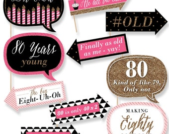 Funny Chic 80th Birthday - Pink, Black and Gold - Photo Booth Props - 80th Birthday Party Photo Booth Prop Kit - 10 Photo Props & Dowels