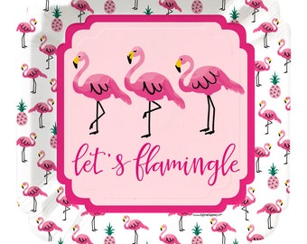 Flamingo Dinner Plates - Party Like a Pineapple - Pink Dinner Plates - Birthday Party, Baby & Bridal  Shower Party Supplies - 8 ct