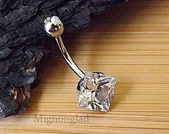 "14g 3/8"" (10mm) / Clear CZ Prong Set Square CZ 316L Surgical Steel Navel Ring"