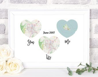 custom map art, Map Print, new home housewarming gift, house warming gift, new home gift, new house gift, moving in together, moving gift