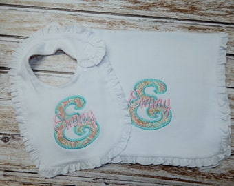 Bib and Burp Cloth, Personalized; Baby girl bib, burp cloth personalized; Bib and Burp cloth; Baby Girl Shower gift