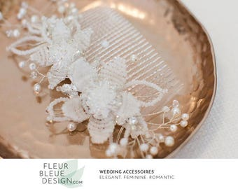 wedding hair accessories   flower hair comb   pearl hair comb   bridal hair comb   pearl headpiece   comb for wedding   beaded headpiece