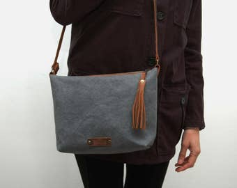 Waxed canvas messenger  bag ,charcoal  color