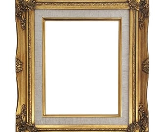 ornate baroque gold painted wooden frame with cream linen liner shabby chic sizes 5x7 8x10 11x14 16x20 20x24 24x36