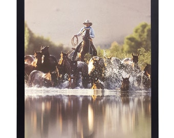 "Cowboy Roundup Horses by David Stocklein 16X20 Western Art Print print alone or framed 1"" black frame"