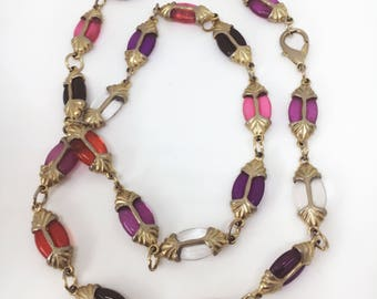 Vintage Colorful Art Deco Inspired Resin Necklace - Matinee Length (24 Inches)