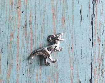 Tyrannosaurus Rex dinosaur charm 3D silver plated pewter (1 piece) - dinosaur pendant, T-Rex charm, paleontology charm, T-Rex pendant, CC2