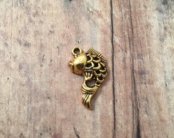 6 Koi fish charms (1 sided) gold tone - gold koi pendants, gold fish pendants, koi pond charms, zen charms, Japan fish charm, BX165
