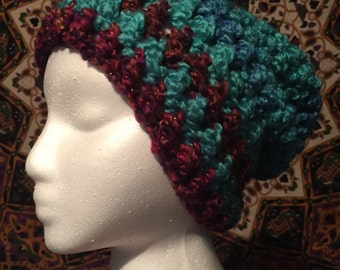 Crocheted striped slouchy hat