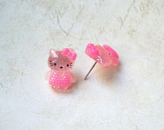 Earrings Cat Kitty pink