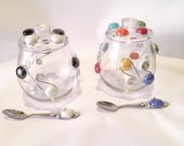 Sugar Bowl w/lid & spoon, Wire Wrapped Utensil, Candy Bowl, Condiment Bowl, Kitchen Decor, Coffee and Tea, Beaded Bowl, Dips, Beaded Spoon
