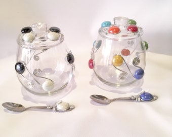 Sugar Bowl W/lid U0026 Spoon, Wire Wrapped Utensil, Candy Bowl, Condiment