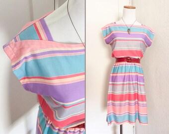 Vtg 80s Pastel Stripes Boatneck Summer Dress S