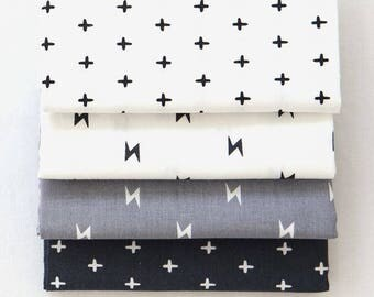 Cross and Lighting Bolt - Quarter Fabric Pack 4 Fabric 1set - Sets for 4 each 45 X 55 cm