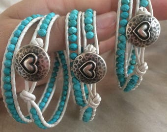 Kids 2 Wrap Bracelet White and Turquoise with Heart Button ONE  Bracelet or Puple Black