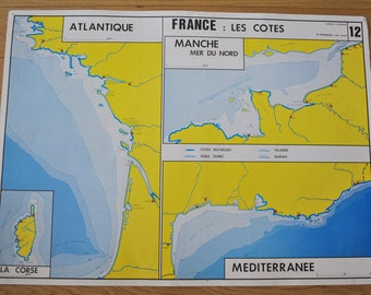 Old map double-face - France: side - the hydrographic network. By NIGHTINGALE