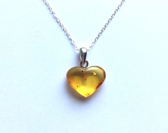"""Amber heart pendant small silver plated 18"""" chain"""