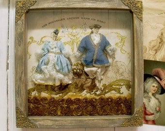 French antique Love couple diorama collage wall decor