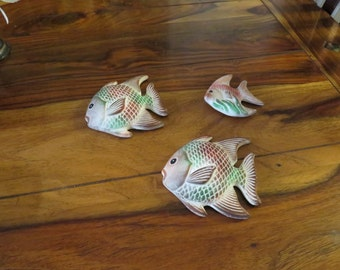 Beautiful Vintage Ceramic Fish Plaques Set of Three