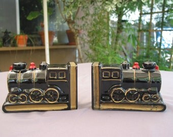 Charming Vintage Japan Made Train Book Ends