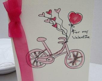 Valentine Bicycle, valentine card, watercolour card, wife card, husband card, girlfriend card, boyfriend card, hand painted card, handmade