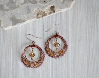 Copper Brown Hoop Earrings Handmade - Amber Beads
