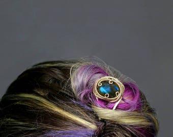 Glamorous Labradorite Wire Wrapped Silver Hair Pin