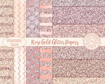 Rose Gold glitter digital papers, shiny Blush Pink Metallic Page, Glam background download, digital planner paper chevron, dots stripes RG01