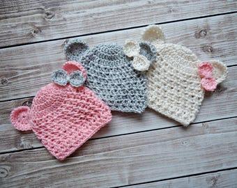 Crochet teddy bear Hat, Newborn bear hat, Baby teddy bear hat, Ecru teddy bear hat