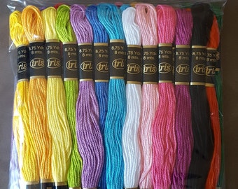 Iris Super Sheen Pastel Cotton Embroidery Floss - Package of 36 skeins