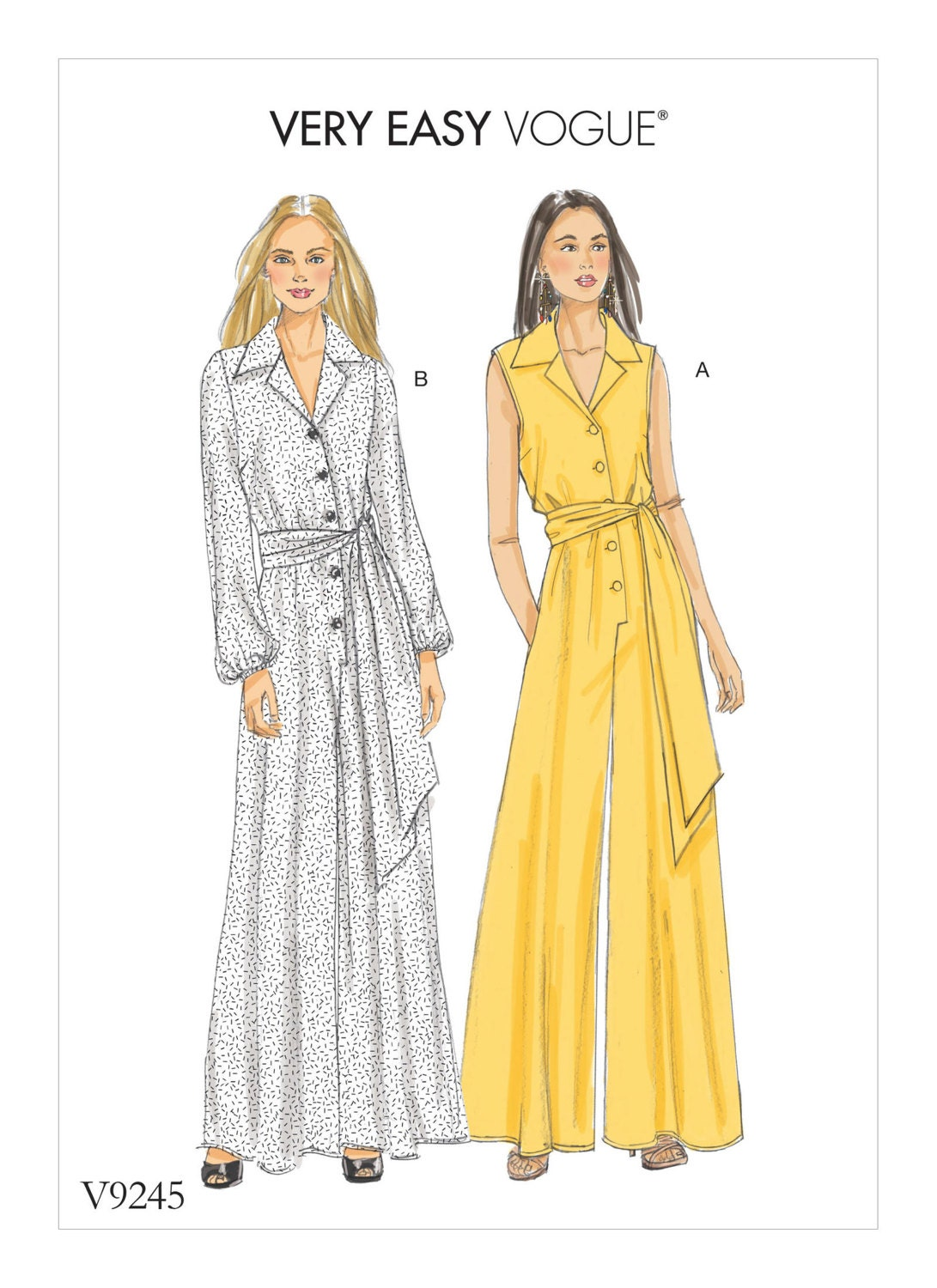 a21fe397fdec Vogue Pattern V9245 Misses  Petite Button-Up Jumpsuits and Sash from  GGselections on Etsy Studio