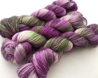 Hand Dyed Yarn--Petunias on Silky Single Sock 70 Superwash Merino/30 Silk  Single Ply Sock