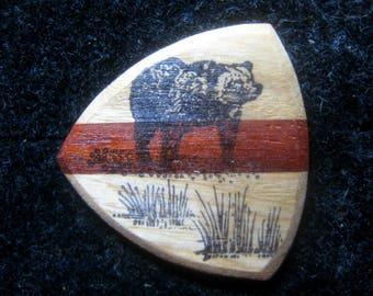 Wooden Guitar Pick with Bear, Black Bear, Brown Bear