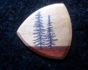 Wooden Guitar Pick Forest Trees Guitar or Bass Pick
